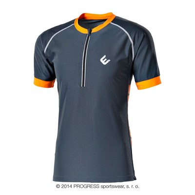 SPIDER mens short sleeve cycling jersey grey/orange