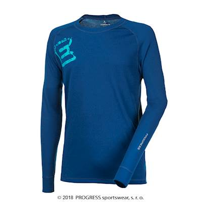 DF NDR PRINT mens long sleeve T-shirt blue