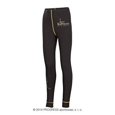 E SDND kids bamboo tights black/yellow sew.
