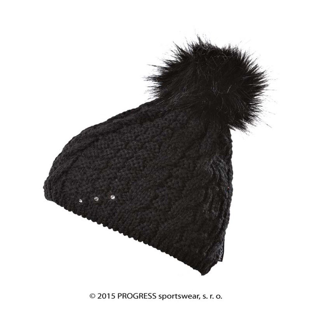 POMPONA ladies knitted beanie with bobble white