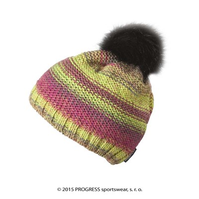 SURI ladies knitted beanie with bobble brown melange