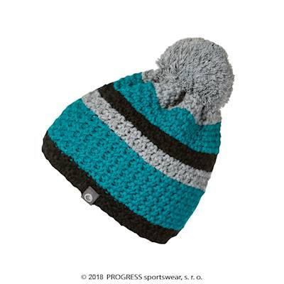 HORNET mens knitted beanie with bobble petroleum/black/grey
