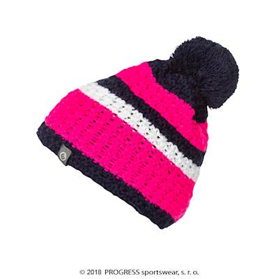 ZEBRA ladies knitted beanie with bobble blue/white/red