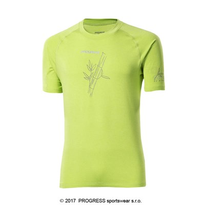 E NKR mens bamboo short sleeve T-shirt Lt.green/grey sew.