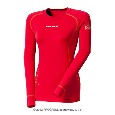 E NDRZ ladies bamboo long sleeve T-shirt red