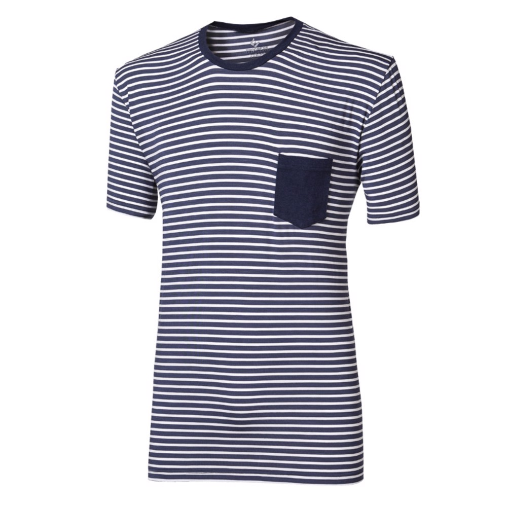 PANDUR  mens T-shirt with bamboo blue-white stripes