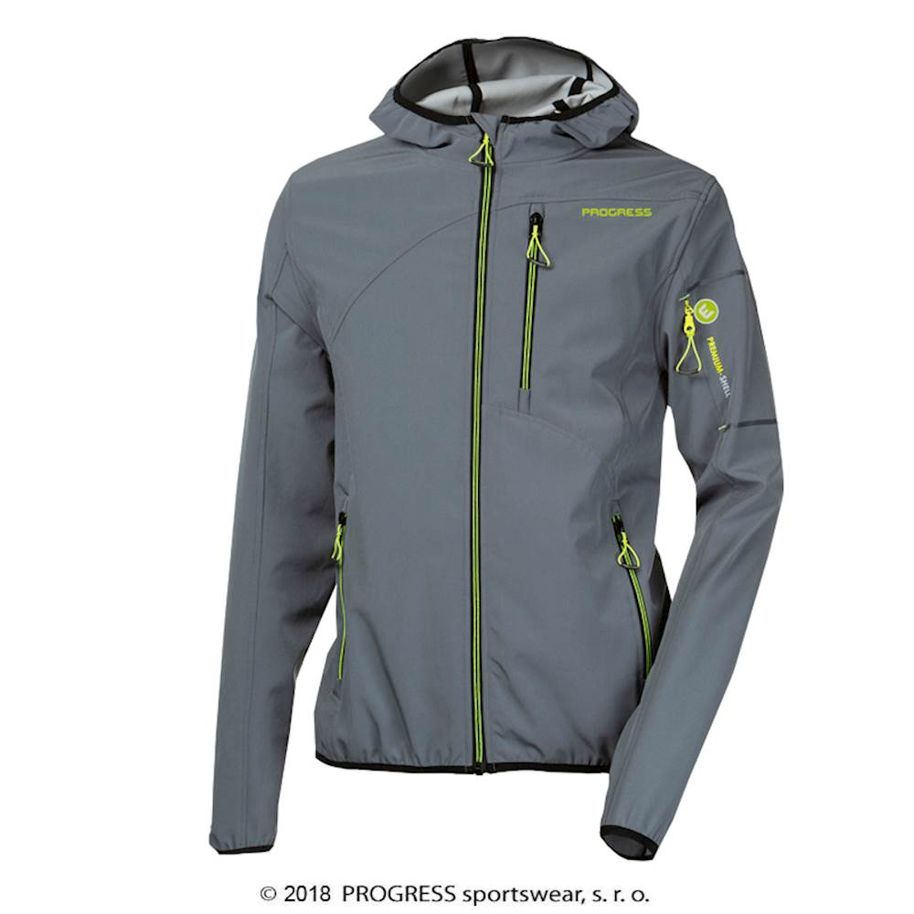 TYROL mens softshell hooded jacket grey