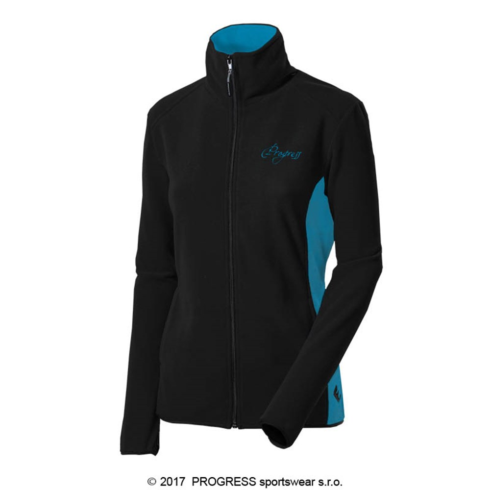 KATY ladies fleece jacket black/turquoise