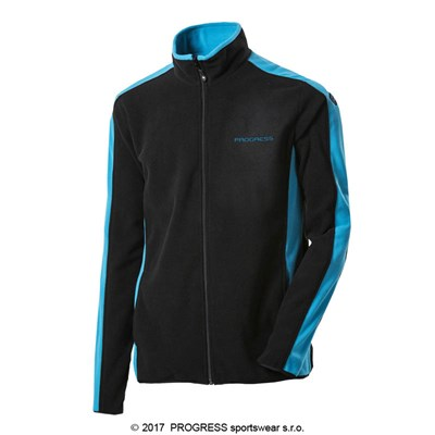 TONNY mens fleece jacket black/turquoise