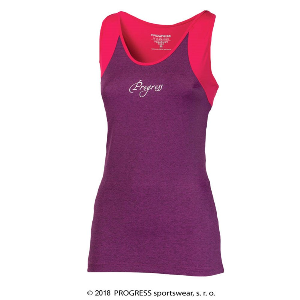 MALAGA 23MA ladies sports singlet blue melange/salmon