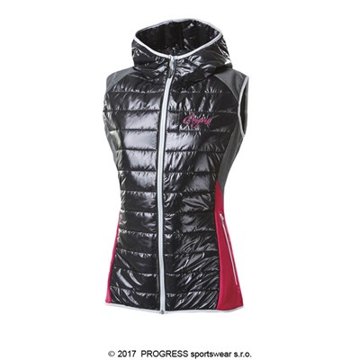 MISURINA ladies hooded padded vest black/white