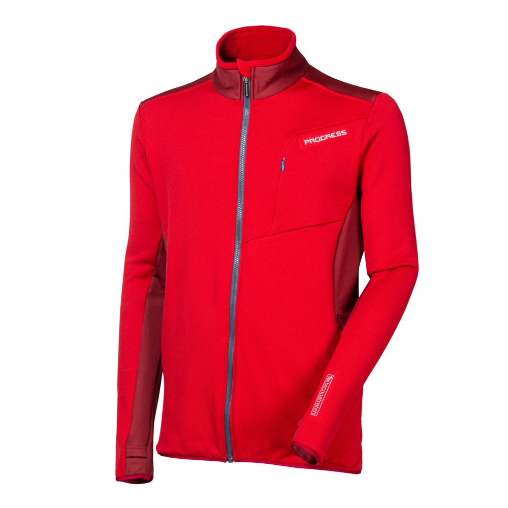 TS HURICAN mens sports full zip jacket red/wine red