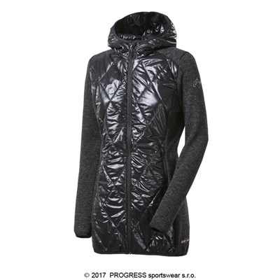 SILVRETTA WOOL ladies hooded full zip hybrid coat with wool black melange/black