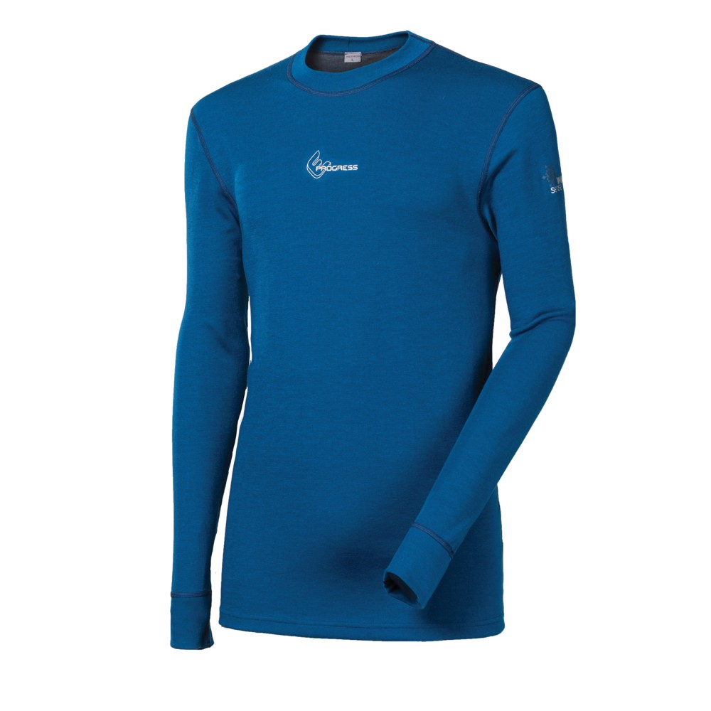 WS TDR mens crew long sleeve T-shirt Md.blue