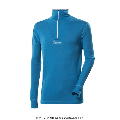 WS TRZ mens zip neck long sleeve T-shirt Md.blue
