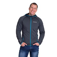 JORDAN mens hooded full zip jacket black melange/turquoise