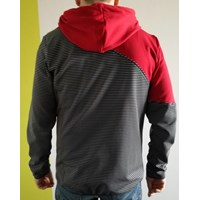 MOHICAN mens full zip hooded jacket black stripes/red/grey