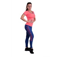 BETTY ladies sports leggings blue melange/salmon