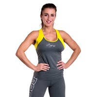 MALAGA 23MA ladies sports singlet khaki melange/yellow