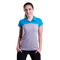 YUKI ladies bamboo polo shirt turquoise/grey melange