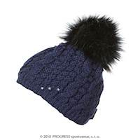 POMPONA ladies knitted beanie with bobble black
