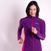 LINEA ladies performance hooded full zip jacket blue melange/růžová