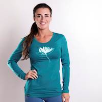 "SONJA ""LOTUS"" ladies bamboo long sleeve T-shirt petroleum"