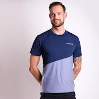 MARATHON mens sports T-shirt navy/grey melange