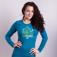 "OS SONJA ""NO WIFI"" ladies bamboo long sleeve T-shirt petrol blue"
