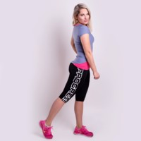 BETTY 3Q ladies sports 3/4 leggings blue melange/salmon