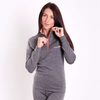 MB TRZZ ladie's functional long-sleeved T-shirt grey melange/apricot