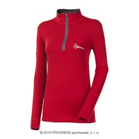 WS TRZZ ladies zip neck long sleeve T-shirt red
