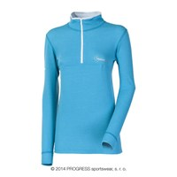 WS TRZZ ladies zip neck long sleeve T-shirt Lt.blue