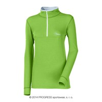 WS TRZZ ladies zip neck long sleeve T-shirt green