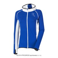 TIBA ladies hooded full zip jacket blue/white