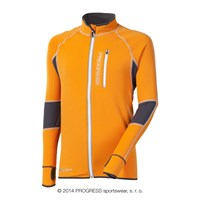 CLAVOS mens running full zip jacket orange/grey