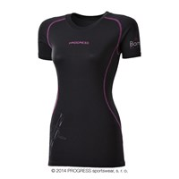E NKRZ ladies bamboo short sleeve T-shirt black/purple sew.