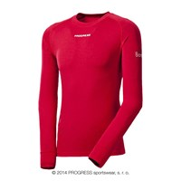 E NDR mens bamboo long sleeve T-shirt red