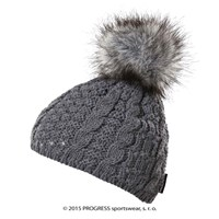 POMPONA ladies knitted beanie with bobble grey