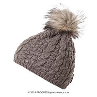 POMPONA ladies knitted beanie with bobble brown