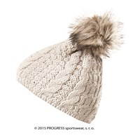 POMPONA ladies knitted beanie with bobble beige