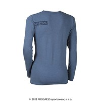 LONGBAR mens long sleeve T-shirt with bamboo blue melange