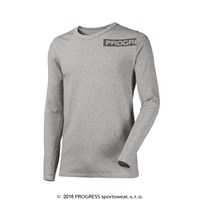 LONGBAR mens long sleeve T-shirt with bamboo grey melange