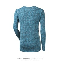 CHAOS mens long sleeve T-shirt turquoise melange