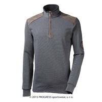 MAXIM mens zip neck pullover black melange
