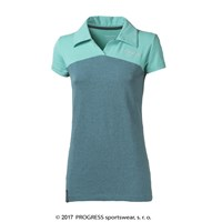 YUKI ladies bamboo polo shirt Lt.green/turquoise melange