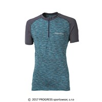 KURT mens zip neck short sleeve T-shirt grey/turquoise melange