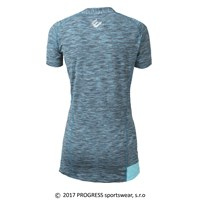 KUGA ladies zip neck short sleeve T-shirt turquoise melange/Lt.blue