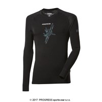 E NDR mens bamboo long sleeve T-shirt black/Lt.green sew.