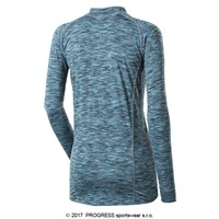 SILVIA ladies zip neck long sleeve T-shirt turquoise melange